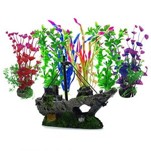 Aisamco Plante d'aquarium Artificielle,6 Pièces Gros Taille Aquarium Cachette Plastique en Décoration, 1 Pièces Épave Enfoncées Bateau voilier Destroyer Ornement pour Aquarium
