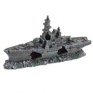 Pet Ting Bateau de Guerre en Forme d'épave pour Aquarium Motif Pirate 24 cm