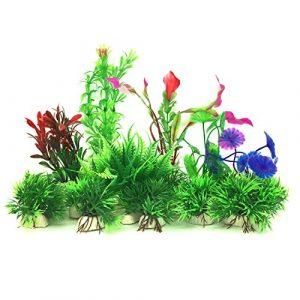 Plante Aquarium Artificiel, PietyPet 16 Pièces Petit Taille Aquarium Decoration Cachette Plastique en Plastique Décoration, Plastique pour Décoration d'aquarium