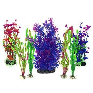 Plante Aquarium Artificiel, PietyPet 7 Pièces Gros Taille Aquarium Decoration Cachette Plastique en Plastique Décoration, Plastique pour Décoration d'aquarium, Violet