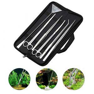 YESIAM Kit d'outils pour Aquarium 6 en 1 en Acier Inoxydable pour Plantes Aquatiques Pince à épiler Ciseaux Spatule Aquascaping Set pour Plantes Aquatiques