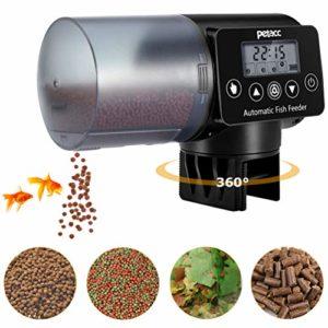 Petacc Distributeur Automatique de Nourriture pour Aquarium/Poisson avec Affichage LCD et réglage du Temps de Puissance, Convient pour l'aquarium, 200 ML(Noir)