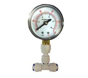 Nature's Water Manomètre pour système de filtre à osmose inverse avec tuyau 1/4″