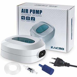 Zacro 2.5w Pompes à Air pour Aquarium,Débit 3L/Minutes,Flux d'air Réglableultra,pour 35L-300L Aquarium