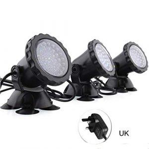 3pcs étanche lumière sous-Marine 7 Couleur Changeante Fontaine de Jardin réservoir de Poissons Piscine étang Aquarium LED Lampe de projecteur Lampes de réservoir de Poisson (Color : UK)