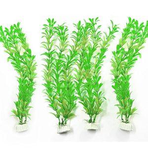 4pièces Aquarium Plantes Plastique Plante aquatique Décoration pour aquarium 11«artificiel hauteur Vert