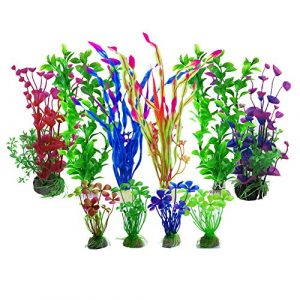 Aisamco Plantes Aquatiques artificielles, décorations d'aquarium artificielles de Plantes d'aquarium de 10 Pcs, Paysage d'aquarium de Plantes d'aquarium artificielles