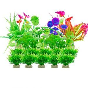 Aisamco Plantes artificielles d'aquarium d'aquarium, 16 décorations d'aquarium d'aquarium d'usine de Plantes, décoration d'aquarium de Plantes artificielles en Plastique