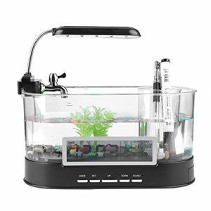 Famus Réservoir de Poissons Rechargeable, réservoir de Poissons USB Multifonctionnel LCD Aquarium numérique avec lumière LED colorée pour Bureau de Salon(#1)