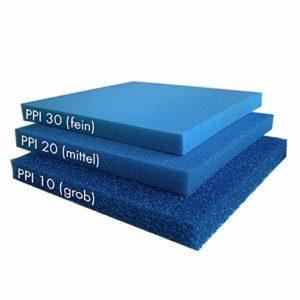 Filterschaum Filtermatte – Blau 50 x 50 x 3 cm 'fein' (ppi 30)