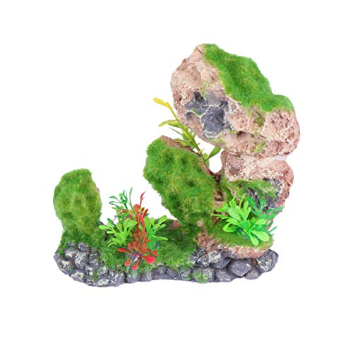 Hemobllo Aquarium Vue sur La Montagne Ornement en Pierre – Résine Arbre Roche Mousse Paysage Artificiel Aquarium Décoration Vert Aquarium Plantes Végétation Rocaille Ornement