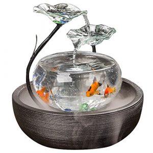 JIANGU Aquarium Fontaine à Eau Salon Meuble TV Petite Ornements en céramique Fontaine Bureau Bureau Creative Fish Tank