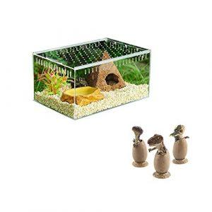 Likeitwell Boîte D'élevage De Reptiles avec Décoration Dinosaur – Acrylique Transparent Pet Reptile Boîte Acrylique Reptile Terrarium Rongeur Reproduction Box