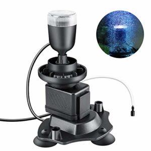 Pompe a air aquarium 500L/H, 3W Silencieux Bulleur Aquarium avec LED Lampe pour Aquarium Imperméable Eclairage