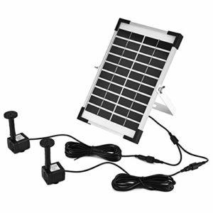 Pompe à eau submersible solaire, pompe à économie d'énergie à faible bruit sans brosse à double pompe 5W pour fontaine d'aquarium