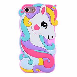 SevenPanda Licorne étui pour iPhone XS Max, Caoutchouc Souple Silicone 3D Mignon Dessin Animé Rose Licorne Cheval Protection Durable Couverture pour Enfants Filles Adolescents Dames – Rose