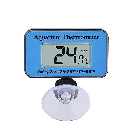 SupplyEU étanche Thermomètre Digital LCD pour Aquarium Marin Vivarium Thermomètre avec Ventouse la Plage de température -10?? C vers 50?? C Idéal pour Aquarium (Bleu)