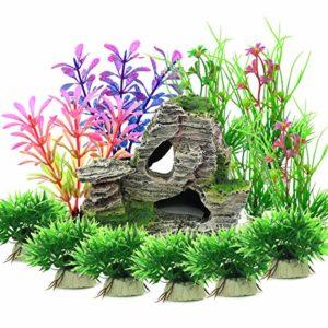 Vibury Aquarium Decoration Plantes, 13 Pièces Taille Plantes d'aquarium Plastique Décoration et Rocher Polyrésine Grotte Ornement Decoration