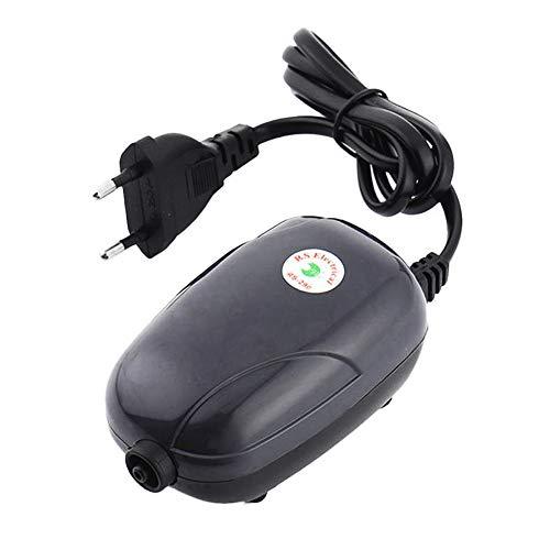 Yakamoz 3W Portable Aquarium Pompe à Air d'Oxygène Hydroponique Aquarium Aérateur Oxygen Pompe Réservoir de Poissons avec 1 Sortie d'air pour Small Fish Tank Noir