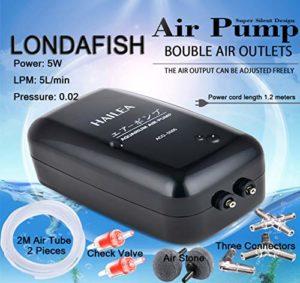 LONDAFISH Pompe à oxygène de Pompe à air Double Sortie Contrôle de débit réglable accrocable Volume d'air élevé Silencieux pour la capacité de réservoir de Tortue de Poisson 5W, 5L / Min