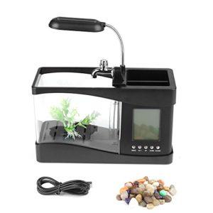 Nimoa Fish Tank, Multifonctionnel USB Rechargeable Mini Fish Tank Aquarium avec Fonction Horloge LED Lumière(Noir)