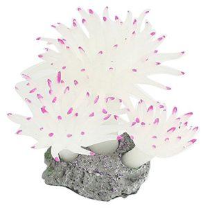 SODIAL 7cm Hight Fuchsia Tipped Blanc Soft Resin Coral Décorez Aquarium