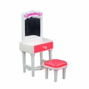 TOYANDONA Mini Coiffeuse Chaise Maison De Poupée Miniature Commode Tabouret Jouer Ensemble pour Les Filles