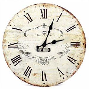 KPPTO New SWT 13 » Motif Vintage Chic rétro Couronne Mur en Bois Horloge Art Accueil Dcor 1 Commande