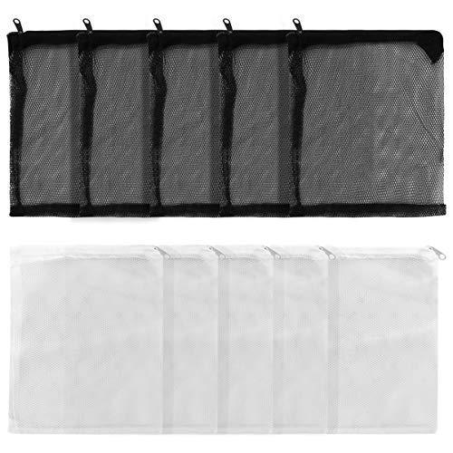 POPETPOP Filtre Daquarium Sacs à Mailles Fines Moyennes avec Fermeture à Glissière Sac de Filtre de Réservoir de Poissons Réutilisable pour Boules Bio Charbon Granulé Anneaux en Céramique (12Pcs)