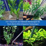 SlowTon Aquarium Tools Kit, Outil Multifonction pour Aquarium Multifonctionnel pour Aquarium avec Pinces en Acier Inoxydable 4 en 1 en Pince à épiler