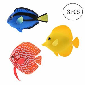 YMZ-Lot de 3 poissons artificiels en silicone pour aquarium