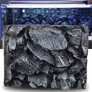 Zyangg-Home Ornement d'aquarium Roche Aquarium Pierre 3D Reptile Fish Tank Décorations Fishtank Décorations Backdrop Aquarium Voir (Color : Black, Size : 60X45X6.5cm)
