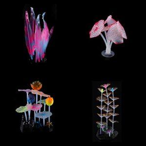 DesignerBox Lot de 4 décorations pour Aquarium en Silicone
