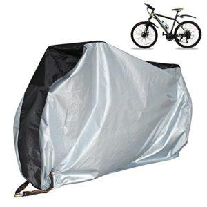 Kjzeex Housse de vélo et chaîne de sécurité pour vélo VTT et Road Bikes Protection extérieure contre la pluie, le soleil, la poussière pour vélo électrique, la moto, la coque noire et argentée, XL