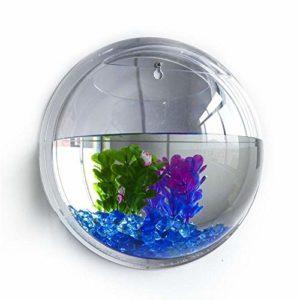 Acrylique Fish Bowl Tenture Murale Aquarium Tank Aquatic Pet Supplies Animaux Produit Mur Monté Pot De Fleur Vase Décoration de La Maison 17 cm Clair