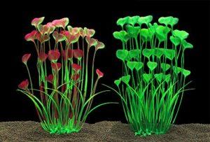 Grandes plantes d'aquarium artificielles en plastique pour aquarium – Sans danger pour tous les poissons – 40 cm de haut – 10 cm de large