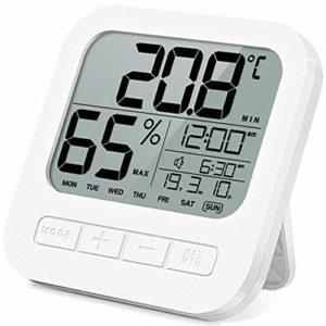 Jsmhh Thermomètre hygromètre numérique avec affichage précis de la température extérieure, indicateur d'humidité pour pièce avec réveil