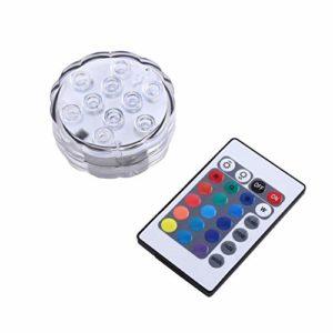La lumière Submersible imperméable de LED, Mini 10 LED coloré RGB Wireless Remote Control pour Les lumières d'aquarium de Noël Halloween l'aquarium imperméable Allume la Lampe de décor