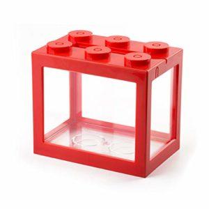 Xcute Mini aquarium à poisson USB LED pour décoration de bureau, Cylindre rouge USB., Red Light