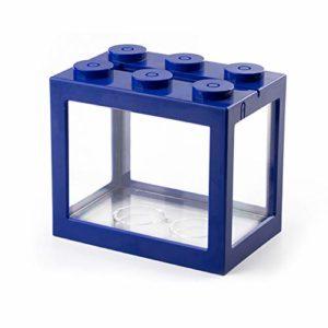 Xcute Mini aquarium à poisson USB LED pour décoration de bureau, Cylindre USB bleu., Blue Light
