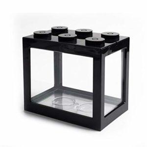 Xcute Mini aquarium à poisson USB LED pour décoration de bureau, Cylindre USB noir., White Light