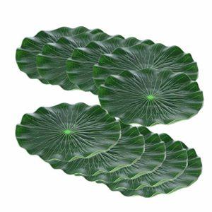Generies Lot de 10 feuilles de lotus flottantes flottantes en plastique pour décoration de paysage