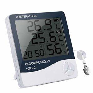 IREENUO Thermomètre Aquarium Digital, Thermometres Hygrometre pour Aquarium Incubateur Reptile Terrarium, Numérique Thermomètre avec Réveil Fonction et Affichage Grand écran