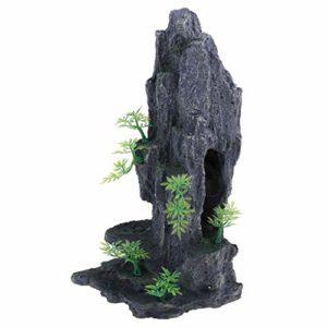 smallJUN Pierres d'aquarium, Ornement de Pierre de Vue sur la Montagne d'aquarium, décoration de réservoir de Poissons de Grotte de Roche d'arbre